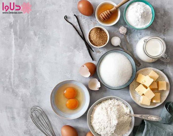 مواد اولیه پخت کیک در مایکروویو بدون کانوکشن